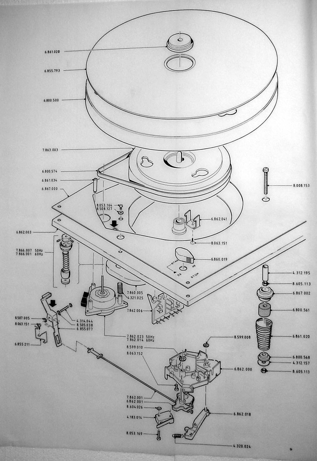 motor schematic thorens factory drawings  thorens factory drawings